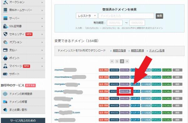 バリュードメイン DNS/URL設定