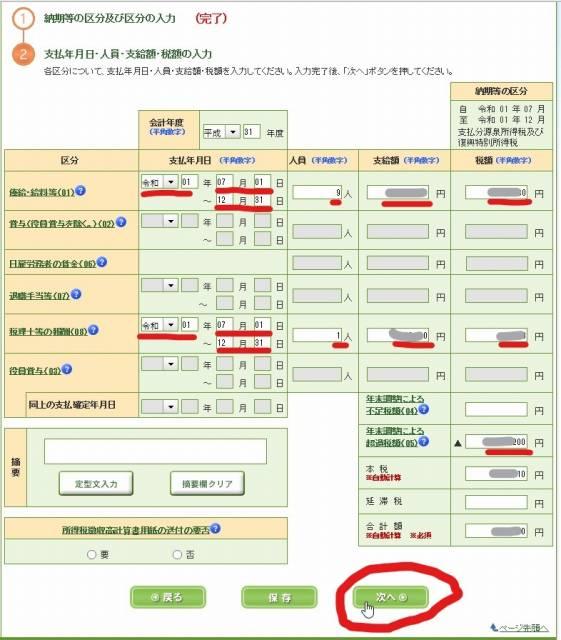 源泉所得税 e-Tax 申告・申請データの作成 日付や人員、支給額、税額の入力欄